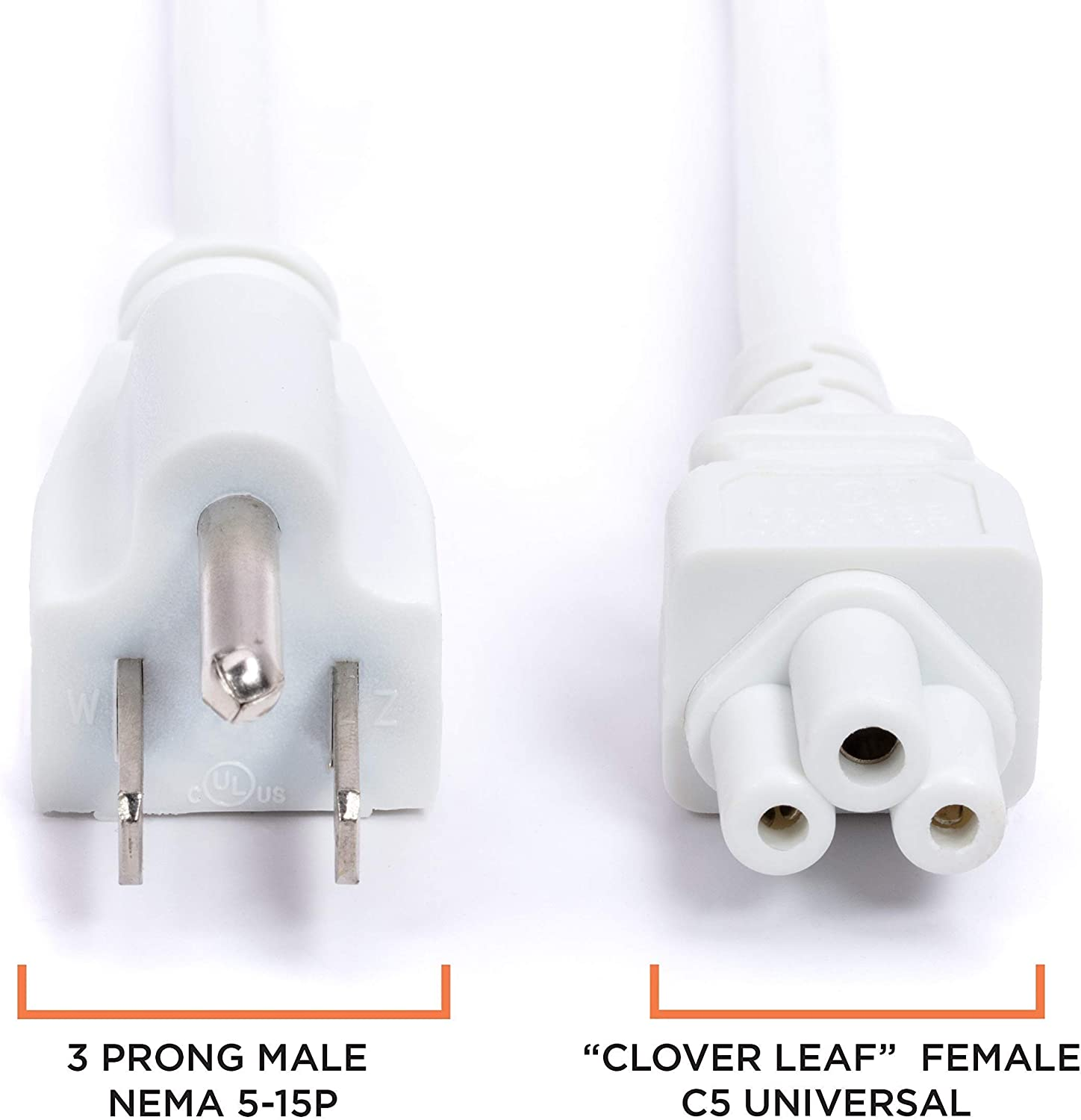 NEMA 5-15 to C5 // IEC 320 3 Prong Premium Quality Copper Wire Core Computers Mouse Style for Laptops - White AC Power Cord /& Power Supplies UL Listed 25 Feet