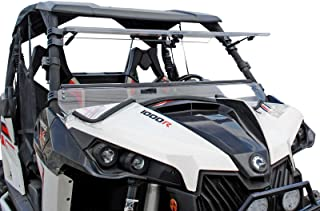SuperATV Heavy Duty Scratch Resistant 3-In-1 Flip Windshield for Can-Am Maverick 1000 / Max/Turbo (2013-2018) - Can Be Set To 3 Different Positions!