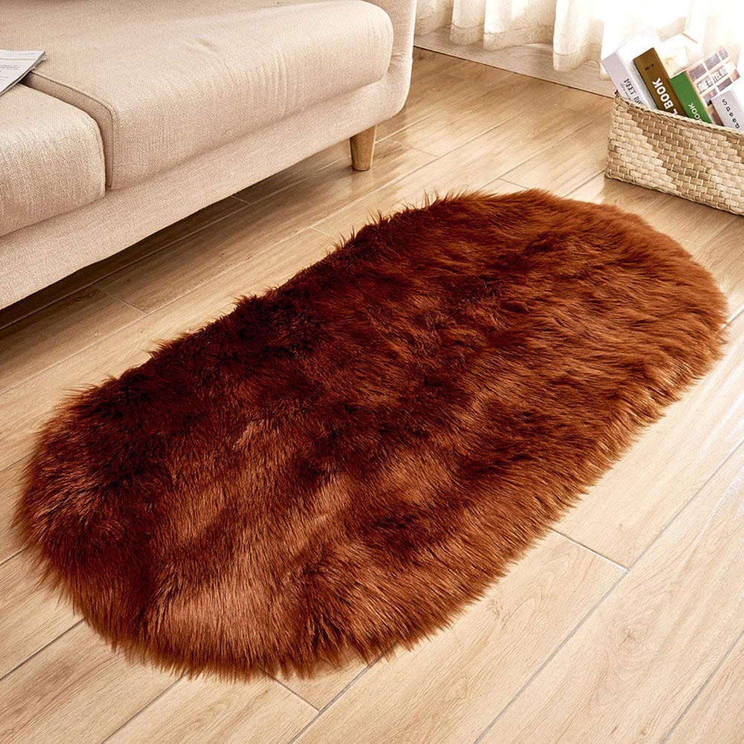契約バリーメッセージスーパーソフト オーバル カーペット シャギー ラグ, 絹のような 玄関マット 装飾的なラグ 持続可能です 洗える の屋内 廊下 リビング ルーム-ブラウン 60x150cm(24x59inch)