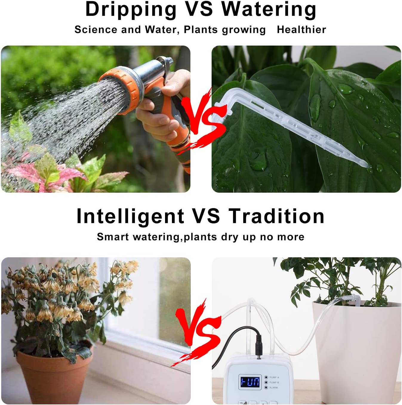 ootrades Double Pump Automatic Watering System, DIY Drip Tape Irrigation  Kit Self Watering System with Timer, 20 420 Days Interval Programming  Vacation ...