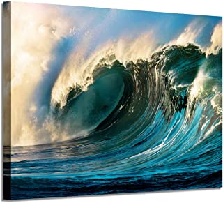 Ocean Waves Picture Canvas Art: Seascape Graphic Artwork Painting Print for Home Office Hotel Wall (36