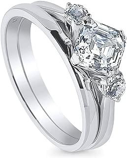 Rhodium Plated Sterling Silver 3-Stone Anniversary Engagement Wedding Ring Set Made with Swarovski Zirconia Asscher Cut 1.46 CTW