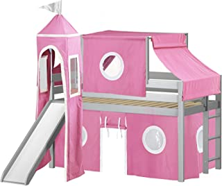 JACKPOT! Princess Low Loft Bed with Slide Pink and White Tent and Tower, Twin, Gray