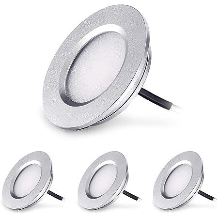 Kohree LED Spot Encastrable Extra Plat 3W 12V LED Encastré Lampe Plafonnier Rond Dimmable 240 Lumen Blanc Chaud IP44 pour Salle de bain Salon Cabine, Bateau Voiture Lot de 4 [Classe énergétique A++]