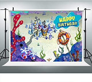 Sponge Bikini Bob Bottom Underwater World Photography for Birthday Party, 9x6FT, Colorful Corals Boy Kids Girls Birthday Banner Background, Photo Booth Studio Props LHLU779