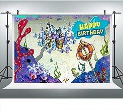 Sponge Bikini Bob Bottom Underwater World Photography for Birthday Party, 9x6FT, Colorful Corals Boy Kids Girls Birthday Banner Background, Photo Booth Studio Props LHLU779