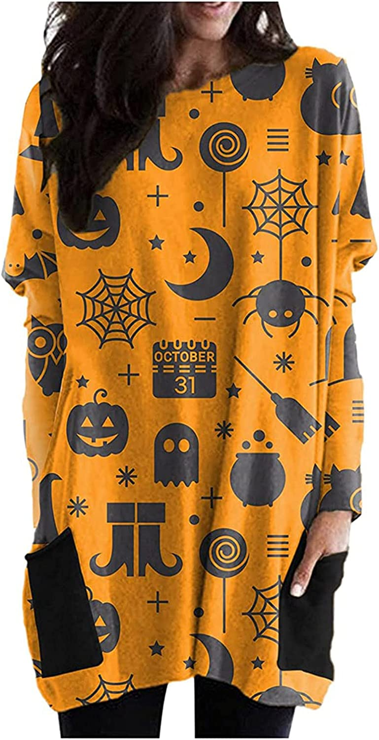 Womens Halloween Tops Loose Sweatshirt All stores Miami Mall are sold Long Ladies T-Shir Sleeve