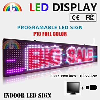 P10 Colorful Indoor Image 39x8 inches led Sign Display