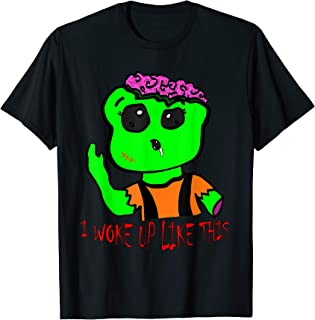 Green Zombie - I woke up like this - Great Halloween Gift T-Shirt