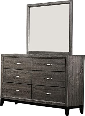 Benjara 6 Drawer Dresser with Grain Details and Tapered Legs, Gray and Black