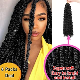 AISI QUEENS Passion Twist Hair Water Wave Crochet Hair 6Packs 18 inch Super Soft lightweight Natural Passion Twist Hair Synthetic Crochet Braids Hair Extensions for Women (1B#)
