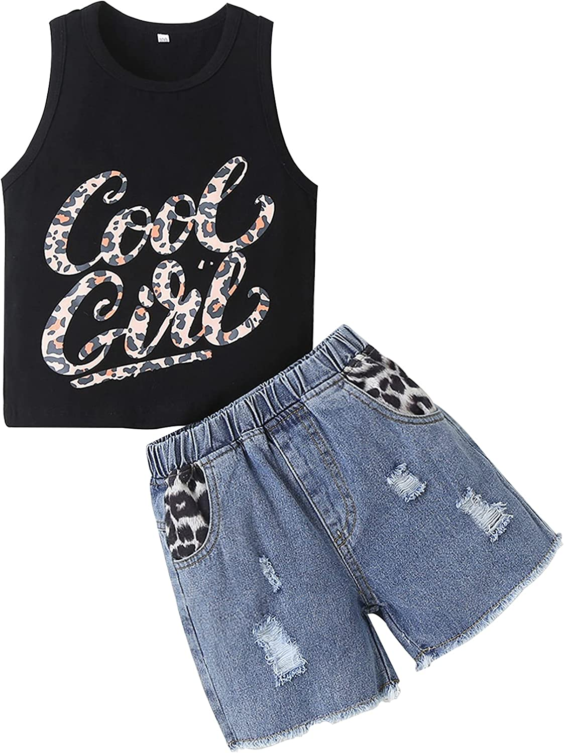 Anmino Toddler Baby Girl Clothes Summer Outfits Leopard Sleeveless Vest Tops+ Ripped Denim