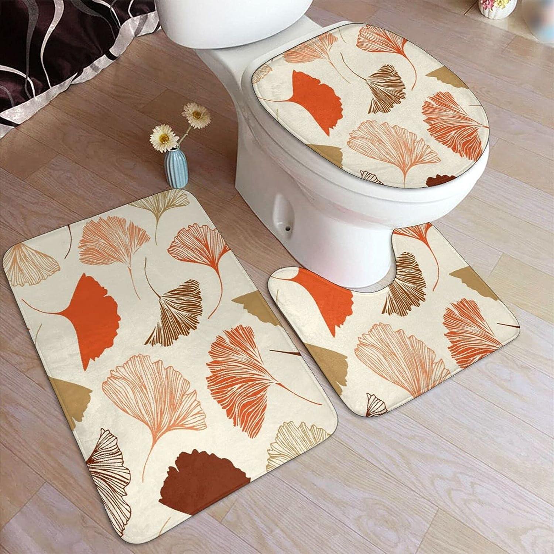 Clearance SALE! Limited time! GRATNNA 3 Piece Bath Rug Set Outlet SALE Floral Non-Sli Ginkgo Leaves Beauty