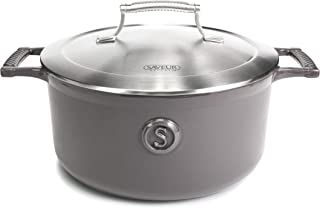 SAVEUR SELECTS Enameled Cast Iron Casserole, 5-Quart Dutch Oven with Double-walled Stainless Steel Lid, Rabbit Grey, Voyag...