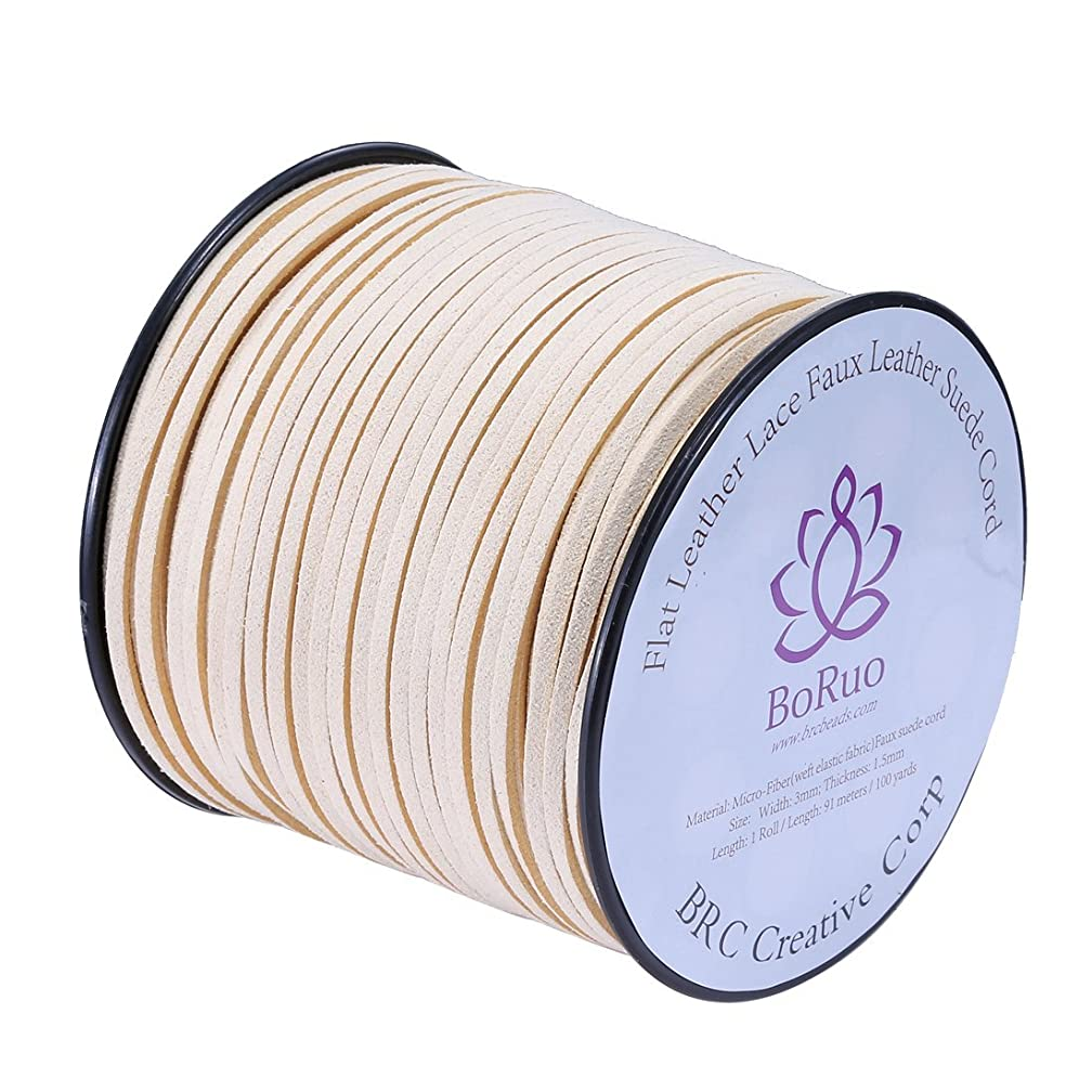 BoRuo Micro-Fiber Flat Leather Lace Beading Thread Faux Suede Cord String Velet 100 Yard Roll Spool 3mm Ivory Color with Acrylic Jar