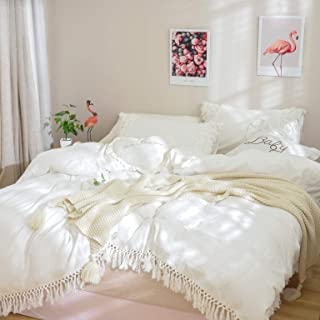 Softta California King Duvet Cover 3 Pcs Boho Bedding Fringed Vintage and Shabby Tassel and Ruffle Bohemian Quilt Cover 100% Washed Cotton