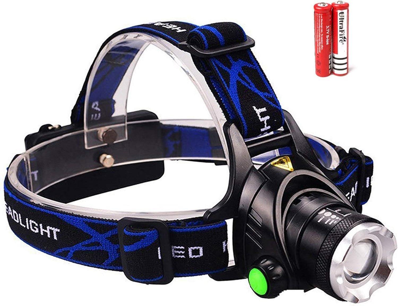 MongerTrend Zoomable Rechargeable Headlamp  LED Headlight Flashlight with Batteries  Head Flashlight  Best Tactical Headlamp  2000 Lumen Hard Hat Light  Brightest Waterproof Led Head Lamp (Black)