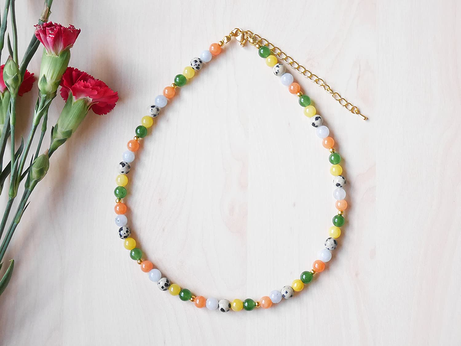 Colorful gemstones necklace - beaded Bombing new work colorf supreme