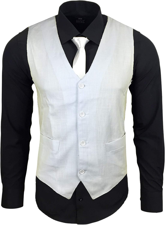 Subliminal Mode – Planchado fácil, chaleco + camisa + corbata para hombre, cuello liso, manga larga, corte fino inicial, idea regalo RN22