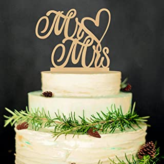 LINGPAR Mr and Mrs Cake Topper Wood Wedding Cake Topper Anniversary Party Decorations Favors (Gold) (2)