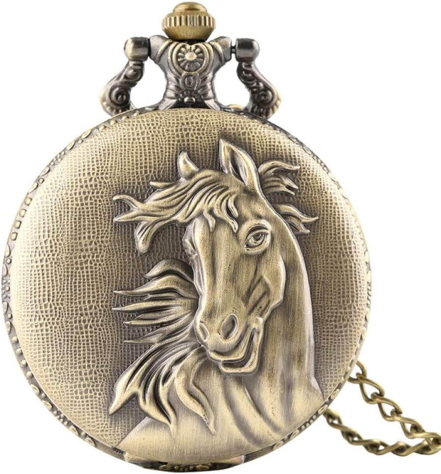 Ranking TOP11 LOOMUCI Pocket Watch Retro Bronze 3D Face Po Floral Horse Special price for a limited time Rattan