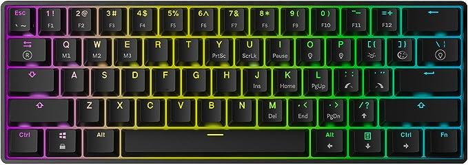 Mizar MZ60 Luna Teclado Mecánico Hotswap para Videojuegos - 61 Teclas LED RGB Multicolor Retroiluminadas para PC/Mac Gamer - Diseño de EE.UU (Negro, ...