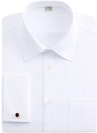 J.VER Hombres Doble Manguito Negocios Camisas de Vestir Formales con Gemelos de Metal Ajuste Regular Manga Larga