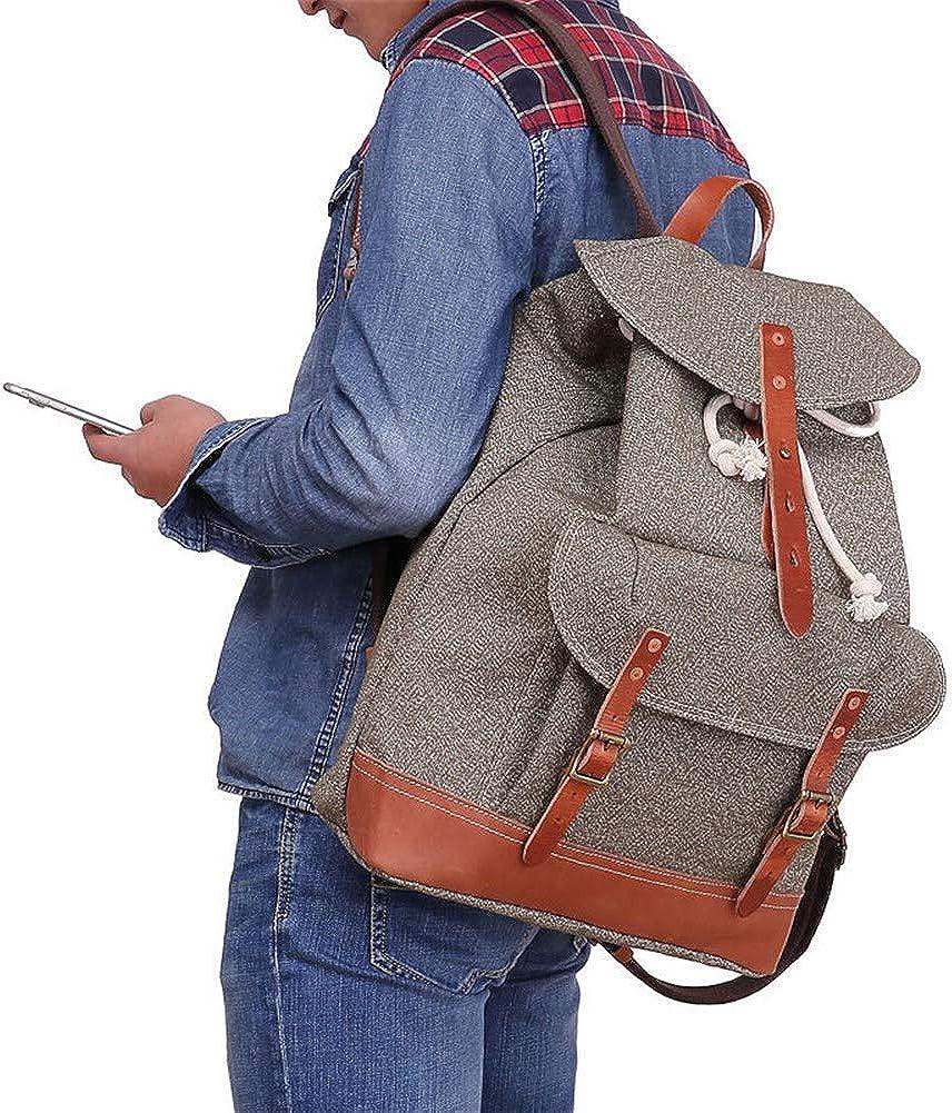 A.OAQRFA Poivre sac à dos de sel grande capacité écologique en cuir rétro homme sac à bandoulière homme Vert Militaire