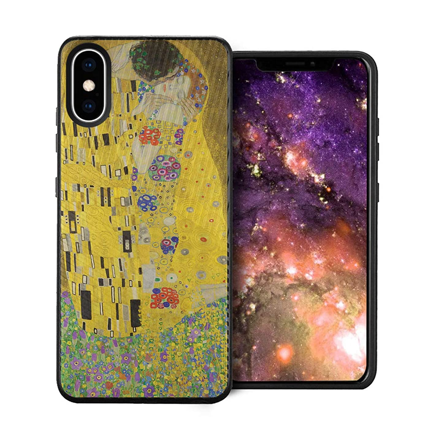 Capsule Case Compatible with iPhone Xs Max [Embossed Diagonal Lines Hybrid Dual Layer Slim Armor Black Case] for iPhone Xs Max - (The Kiss)