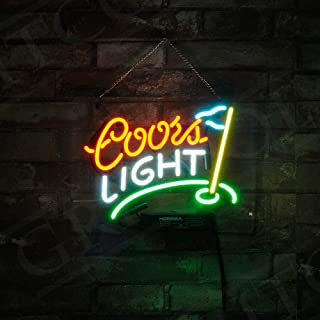 GreeneerG Coors Light Golf Flag Home Wall Decor Neon Sign Vintage Light Beer Bar Club Pub