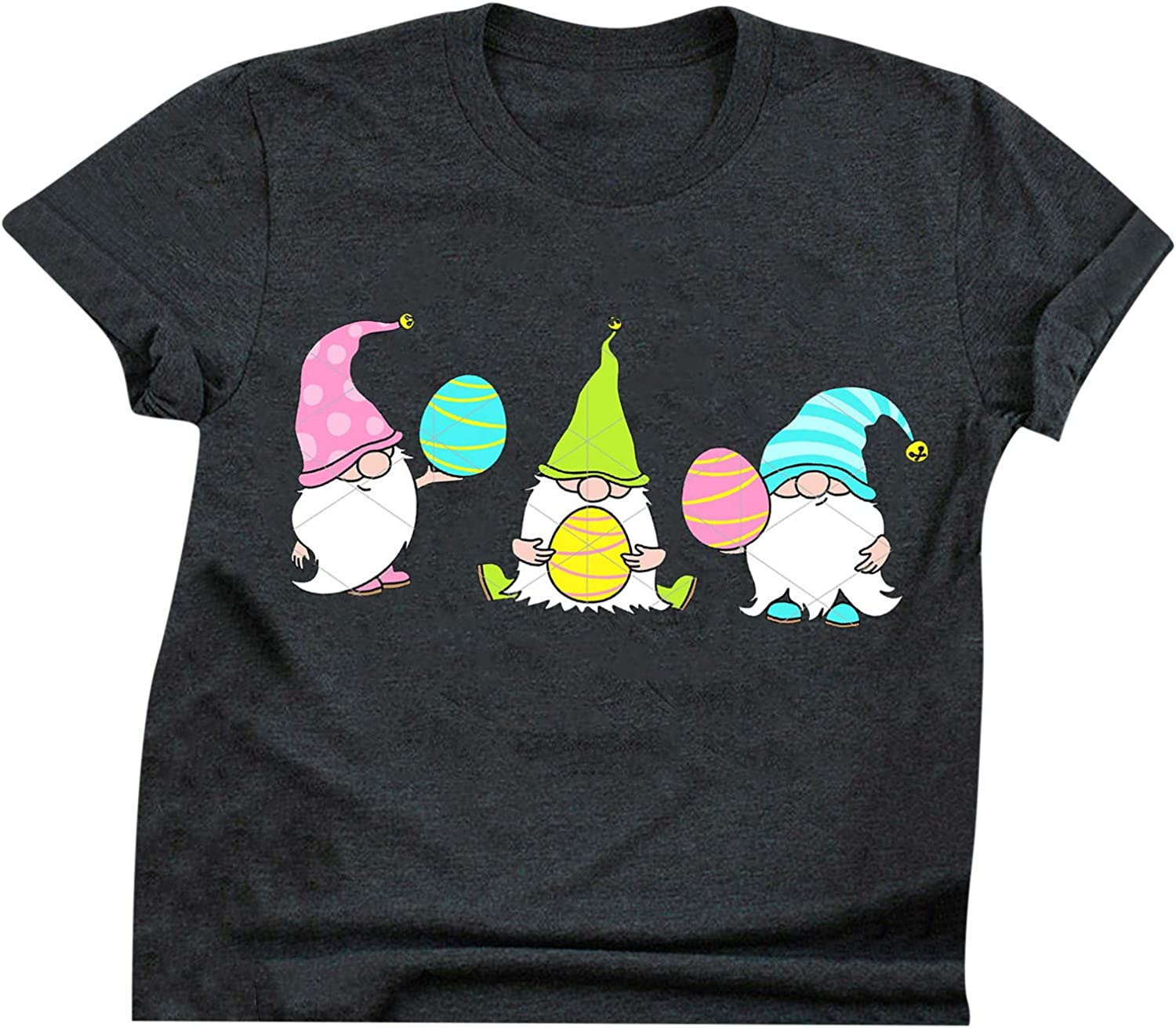 Cute Challenge the lowest price Tops for Women Short Sleeve Eggs Limited price sale Tees Graphic Gnomes Easter