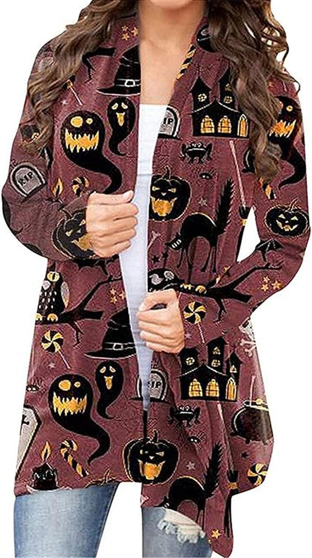 Halloween Long Sleeves Cardigan, Women's Funny Pumpkin Cat Print Oversized Open Front Knit Sweaters Coat Outwear Blouses