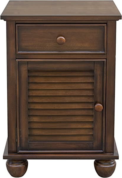 Sunset Trading CF 1137 0158 Bahama Shutter Wood Nightstand Felt Lined Drawer Cabinet With Shelf Tropical Walnut