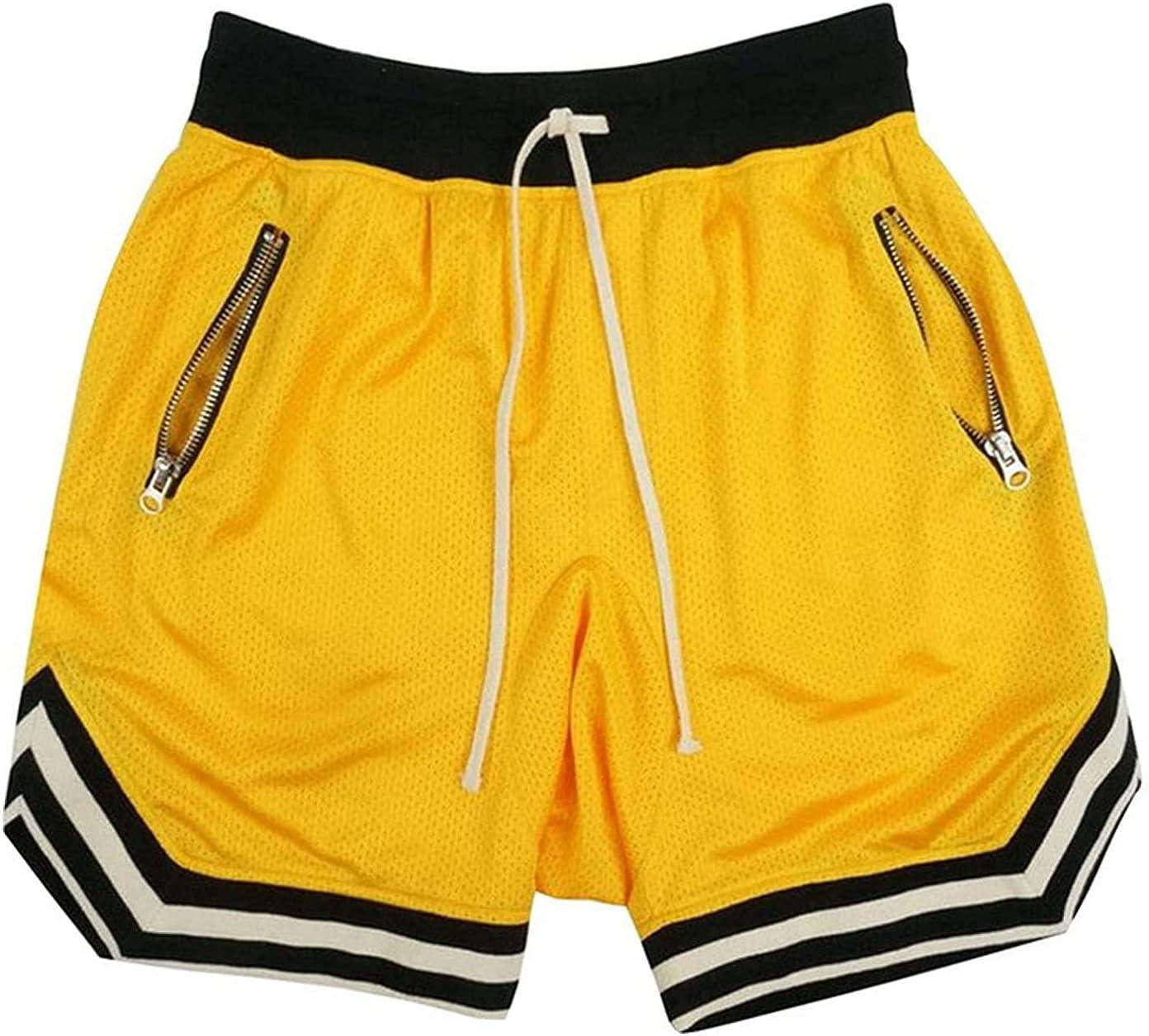 Mens Fitness Mesh Quick Dry Shorts Basketball Zipper Pockets Drawstring Pants Bodybuilding Gym Training Short Pants (Yellow,X-Large)