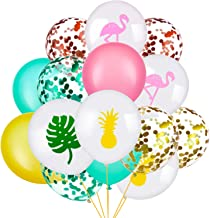 SATINIOR Set of 45 Hawaii Party Decorative Balloon Flamingo Tropical Leaf Pineapple Balloons Colorful Balloon with Round Confetti for Hawaii Luau Party Decorations (Style 1)