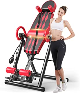 Popsport Premium Foldable Gravity Inversion Table Waist Inflatable Adjustment with Protective Belt Back Therapy Fitness