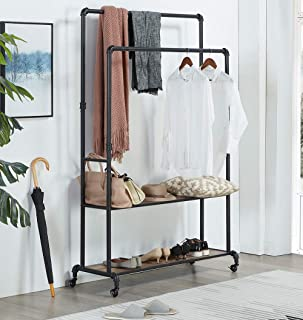Homissue 72 Inch Industrial Pipe Double Rail Hall Tree with Shoe Storage on Wheel, 2 Shelf Rolling Clothes Rack Organizer with 2 Hanging Rod for Garment Storage Display, Vintage Brown