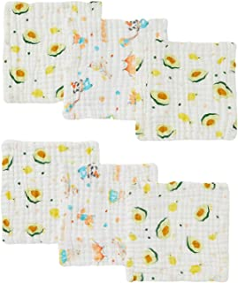 DuoMiaoMiao 6 Pack 100% Breathable Natural Cotton Muslin Squares, 12x12 in Baby Wash Cloth, Burp Cloth Extra Soft Absorben...