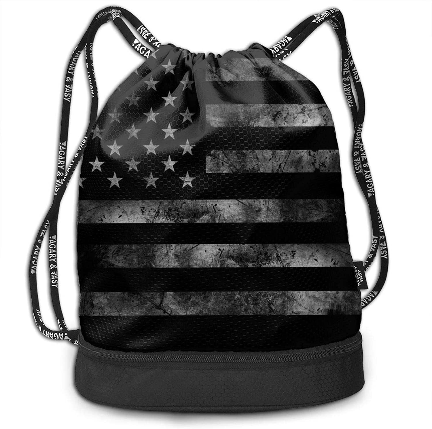 GRACE Z America US Flag Retro Gym Drawstring Sports Bag Simple Quick Dry Bundle Backpack