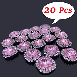 Flat Back Rhinestones Buttons Embellishments with Diamond, Sew On Crystals Glass Rhinestone for Clothing Wedding Bouquet(20pcs) Pink