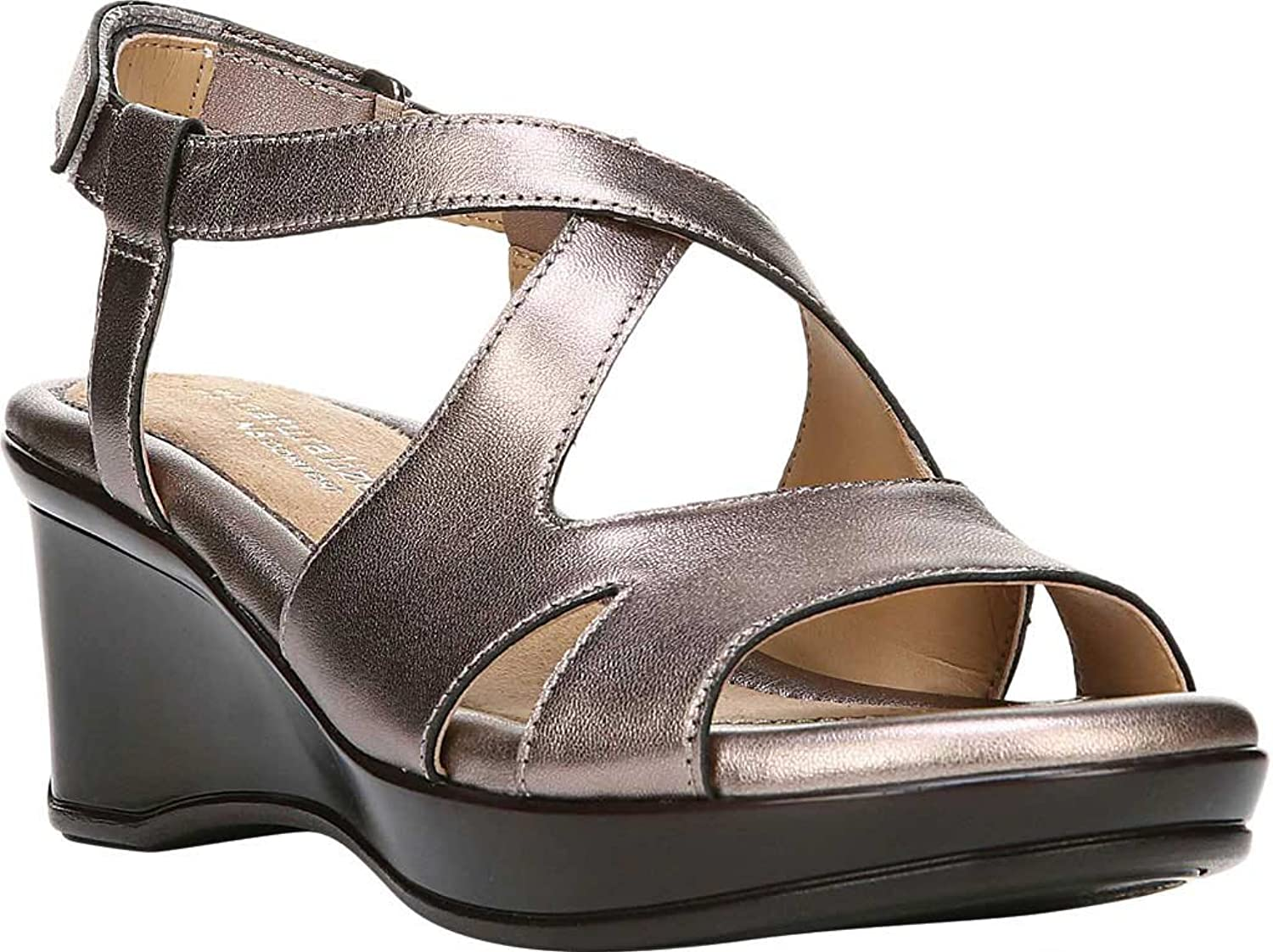 Naturalizer Women's Villette Quarter Strap Sandal,Bronze Leather,US 8 M