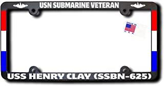 USN Submarine Veteran USS HENRY CLAY (SSBN-625) License Frame w/REFLECTIVE TEXT, DOLPHINS, RIBBONS
