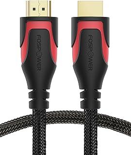 FosPower Cable HDMI 0.3M/1ft Nylon Trenzado de Alta Velocidad HDMI Cable [UHD 4K | 3D | Ethernet | Retorno de Audio - Cumple la última Norma] Chapado en Oro (Negro/Rojo)