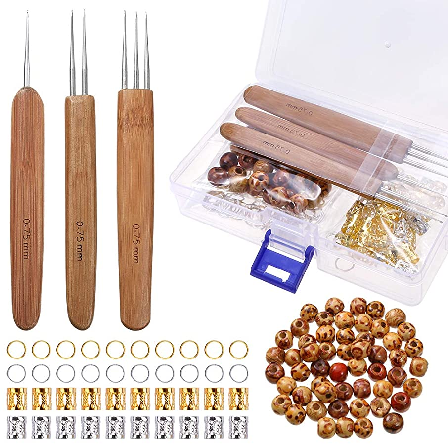 PP OPOUNT 3Pieces/ Set(1Hook, 2Hook, 3Hook) 0.75mm Dreadlock Crochet Hook Soft Touch Steel with 50Pieces Natural Painted Wood Beads and 50Pieces Dreadlocks Beads Metal Cuffs for Braid Craft