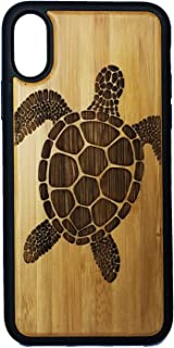 SEA Turtle Phone Case Cover for iPhone Xs MAX by iMakeTheCase   Tribal Tattoo Ocean Sea Hawaiian Honu   Eco-Friendly Bamboo Wood + TPU Wrapped Edges Cell Phone Cover