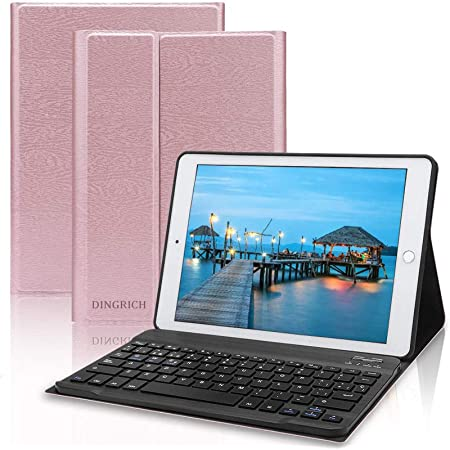 DINGRICH Teclado para iPad 10.2 / iPad 8 Generacion, Funda con Teclado Español Ñ para iPad 10.2 2019 2020 8/7 Generación/iPad Pro 10.5 2017/Air ...