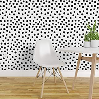 Spoonflower Peel and Stick Removable Wallpaper, Dots Black White Polka Dot Mod Print, Self-Adhesive Wallpaper 12in x 24in Test Swatch