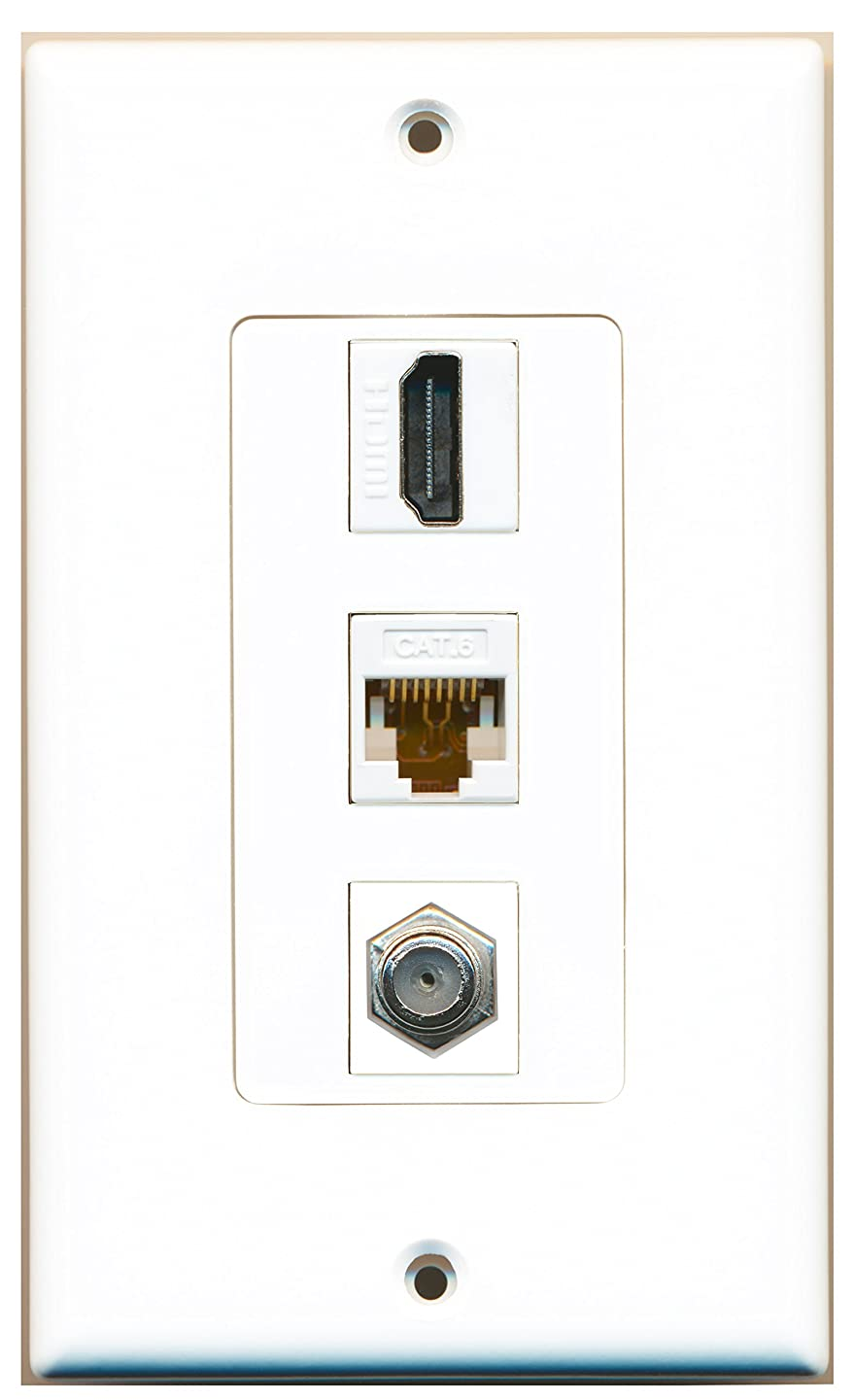 RiteAV - 1 Port HDMI and 1 Port Coax Cable TV- F-Type and 1 Port Cat6 Ethernet White Decora Wall Plate Decora