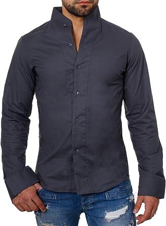 ReRock - Camisa casual - Básico - cuello mao - Manga Larga ...