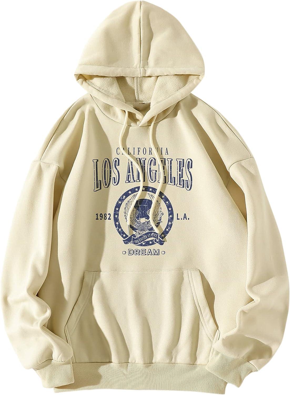 DIDK Women's Long Sleeve Drawstring Drop Shoulder Graphic Hoodie Sweatshirt